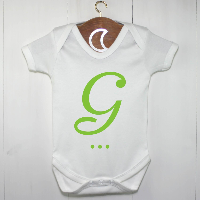 Green Monogram Baby Grow