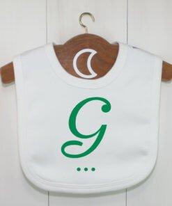 Green Monogram Baby Bib