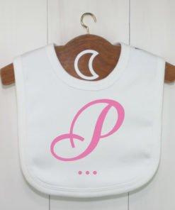 Pink Monogram Baby Bib