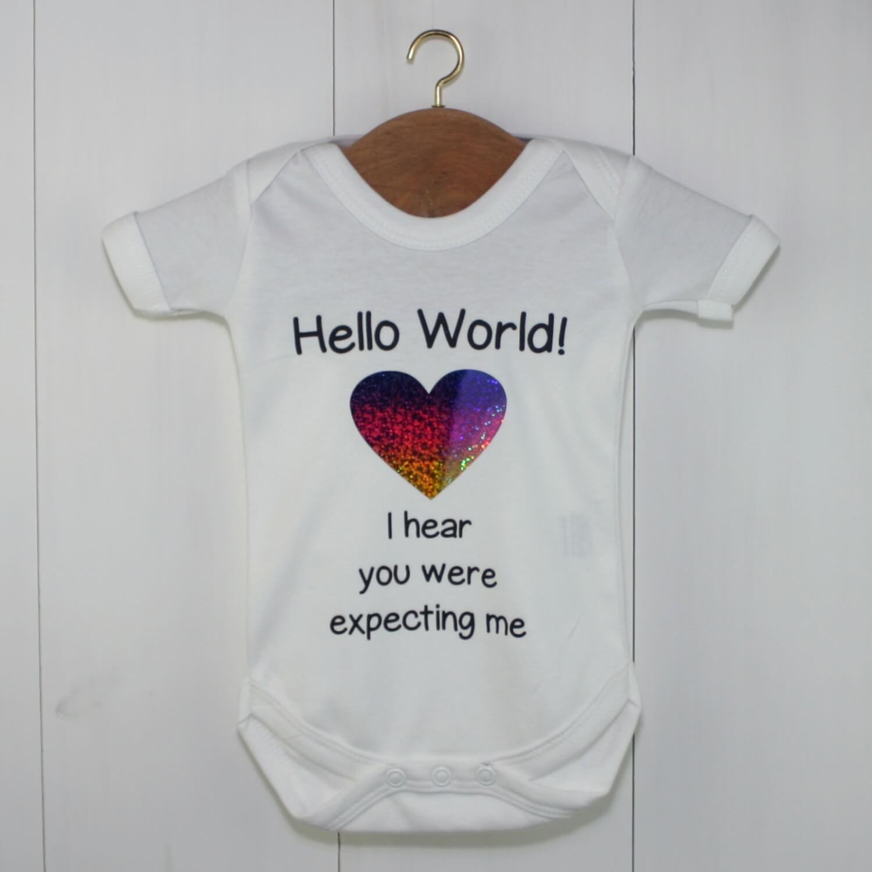 Hello World Baby Grow Rainbow Glitter | Announcement Gift
