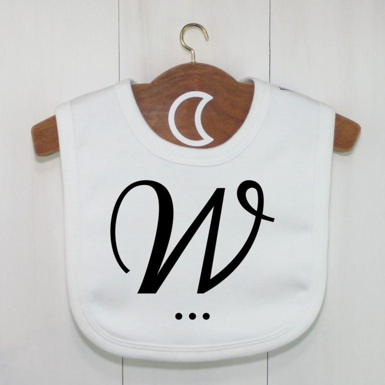 Monogram Baby Bib Letter W