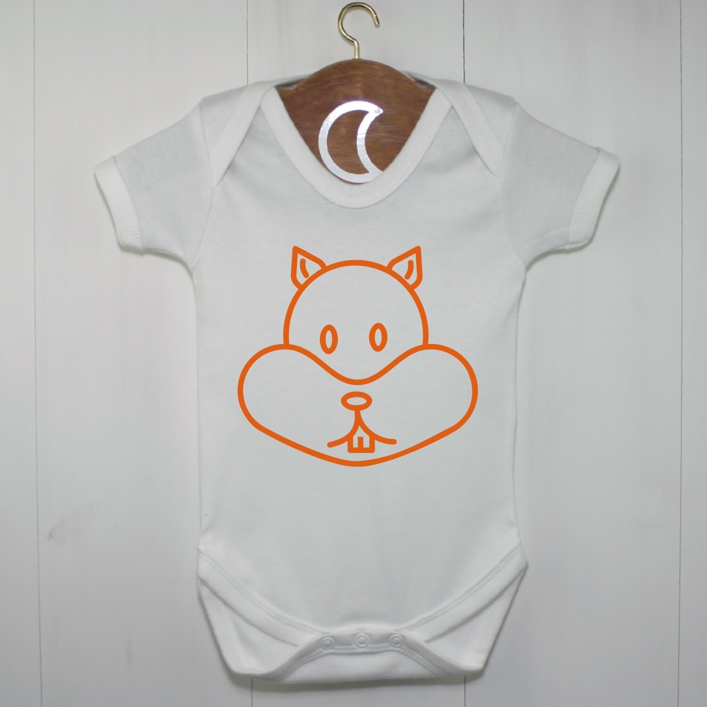 Squirrel Baby Grow Orange | Online Baby Wear