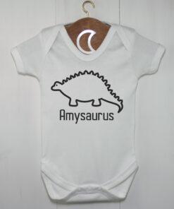 Personalised Stegosaurus Baby Grow | Dinosaur Baby Gift