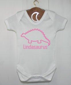 Stegosaurus Baby Grow Pink
