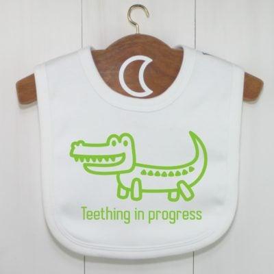 Teething In Progress Crocodile Baby Bib Green