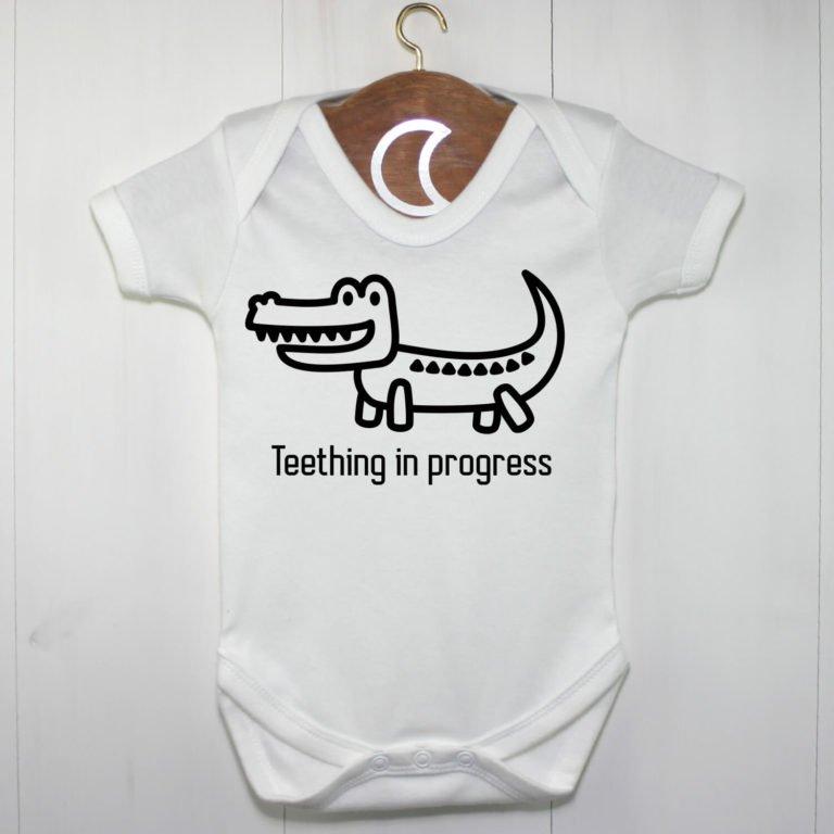 Teething In Progress Crocodile Baby Grow
