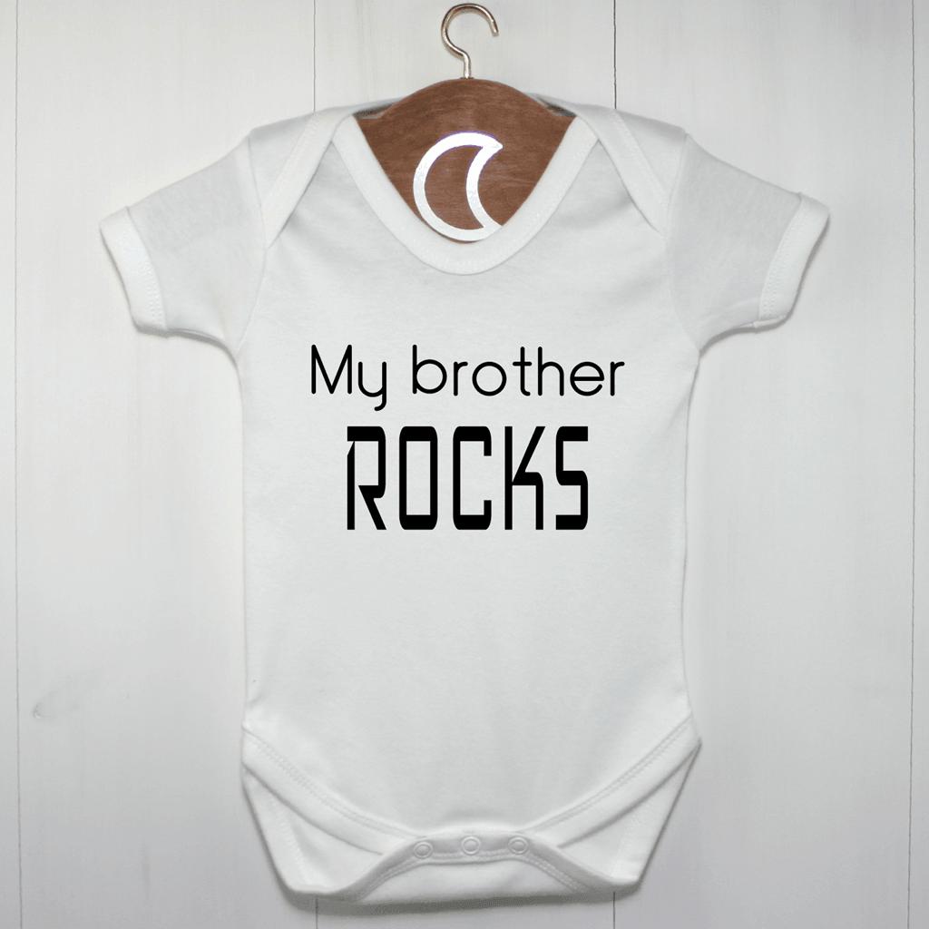 Twins My Brother Rocks Baby Grow