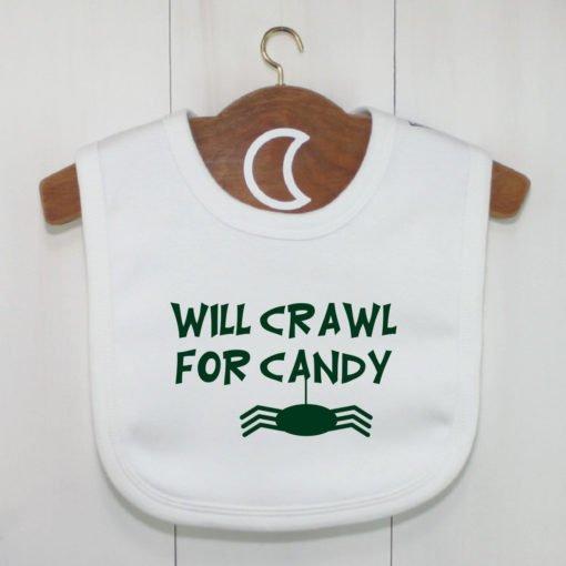 Halloween Crawler Baby Bib Dark Green