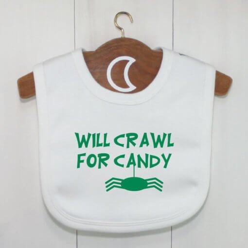 Halloween Crawler Baby Bib Green