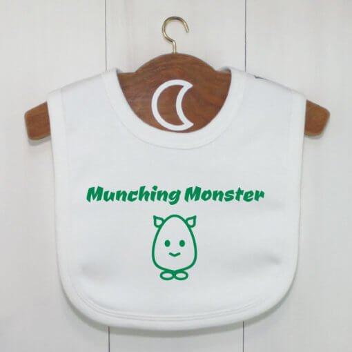 Munching Monster Baby Bib Green