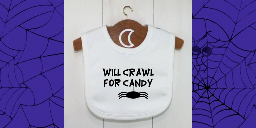 twitter halloween crawler baby bib