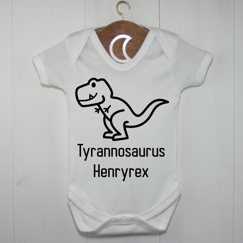 T-Rex Baby Grow Black