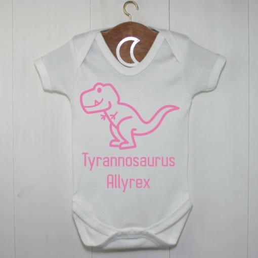 T-Rex Baby Grow Pink