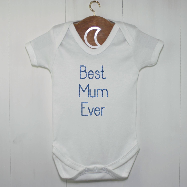 Best Mum Ever Baby Grow Blue Tartan