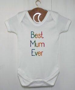 Best Mum Ever Baby Grow Rainbow Glitter