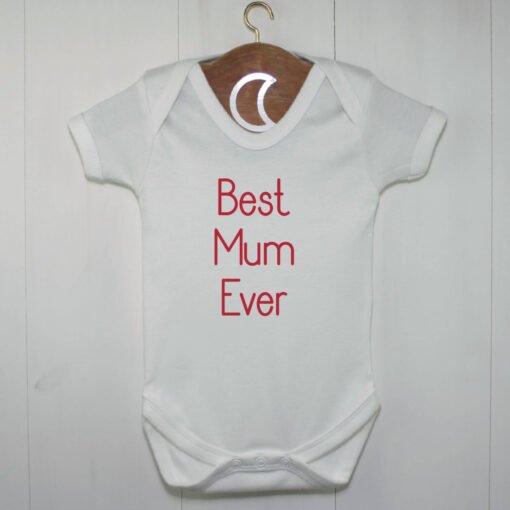 Best Mum Ever Baby Grow Red