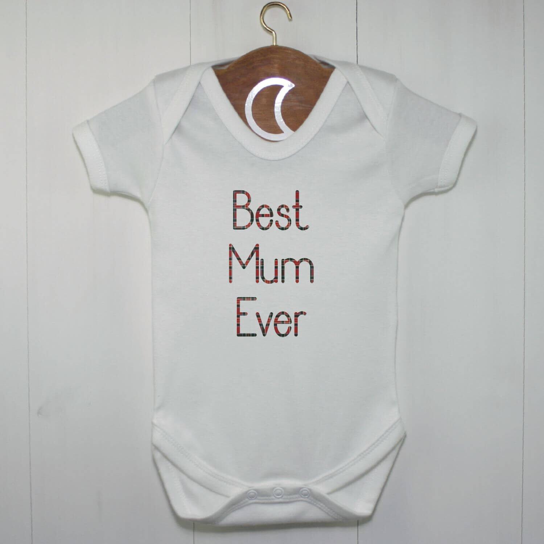 Best Mum Ever Baby Grow Red Tartan