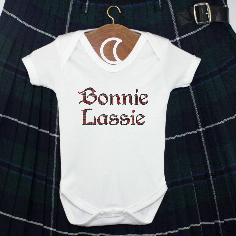 Bonnie Lassie Red Tartan Baby Grow