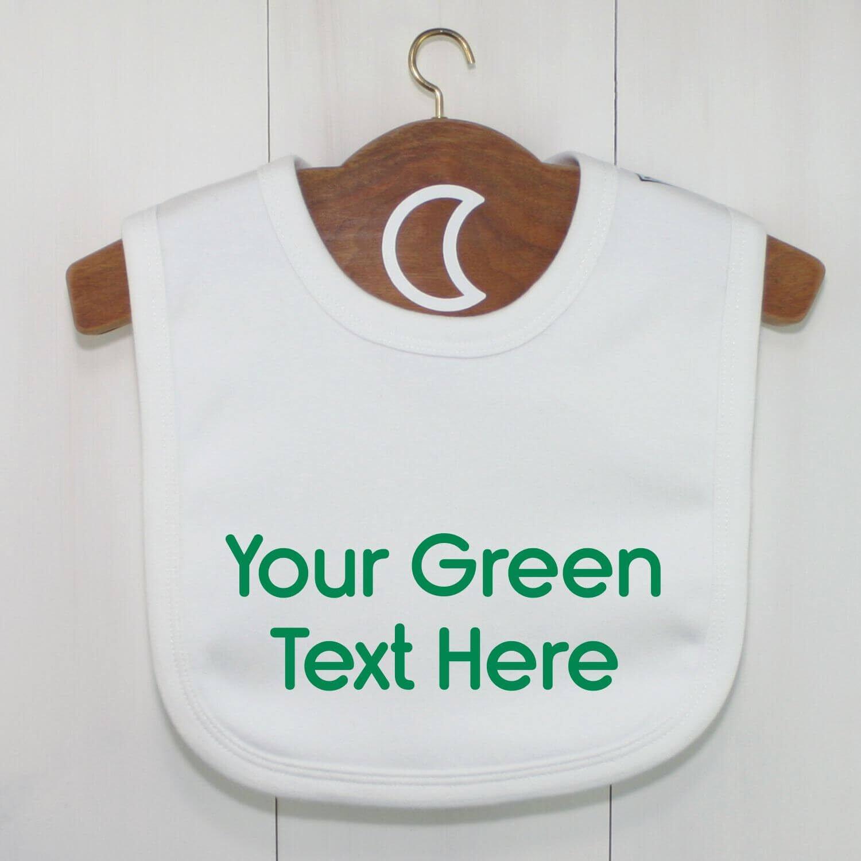 Custom Baby Bib Green Text