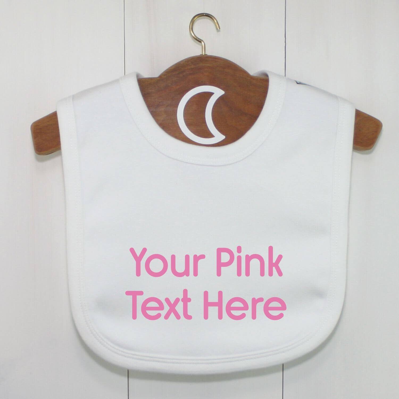 Custom Baby Bib Pink Text