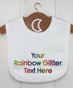 Custom Baby Bib Rainbow Glitter Text