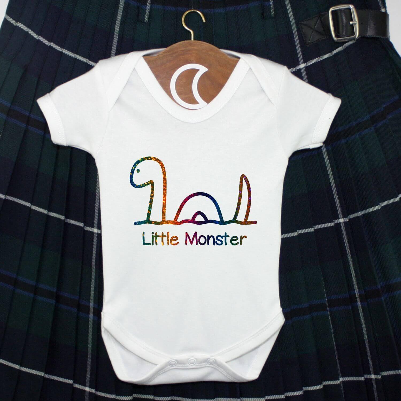 Little Monster Nessie Baby Grow Rainbow Glitter