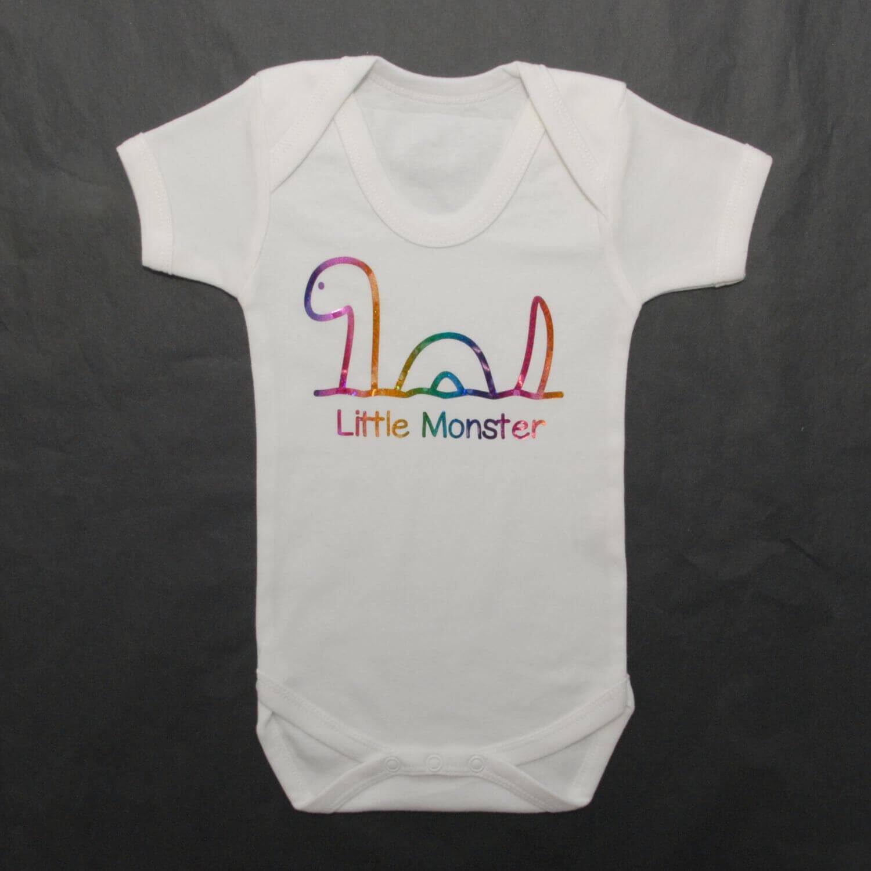 Little Monster Nessie Baby Grow Rainbow Glitter Photo