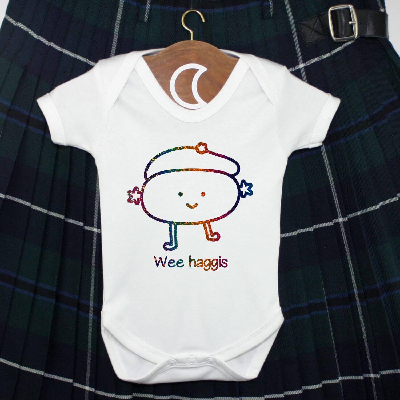 Wee Haggis Baby Grow Rainbow Glitter